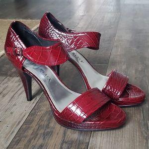 White House Black Market Paula Red Snakeskin Heels